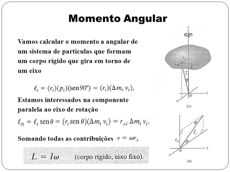 Momento Angular Vamos calcular o momento a angular de um sistema de partículas que formam um corpo rígido que gira em torno de um eixo Estamos interes