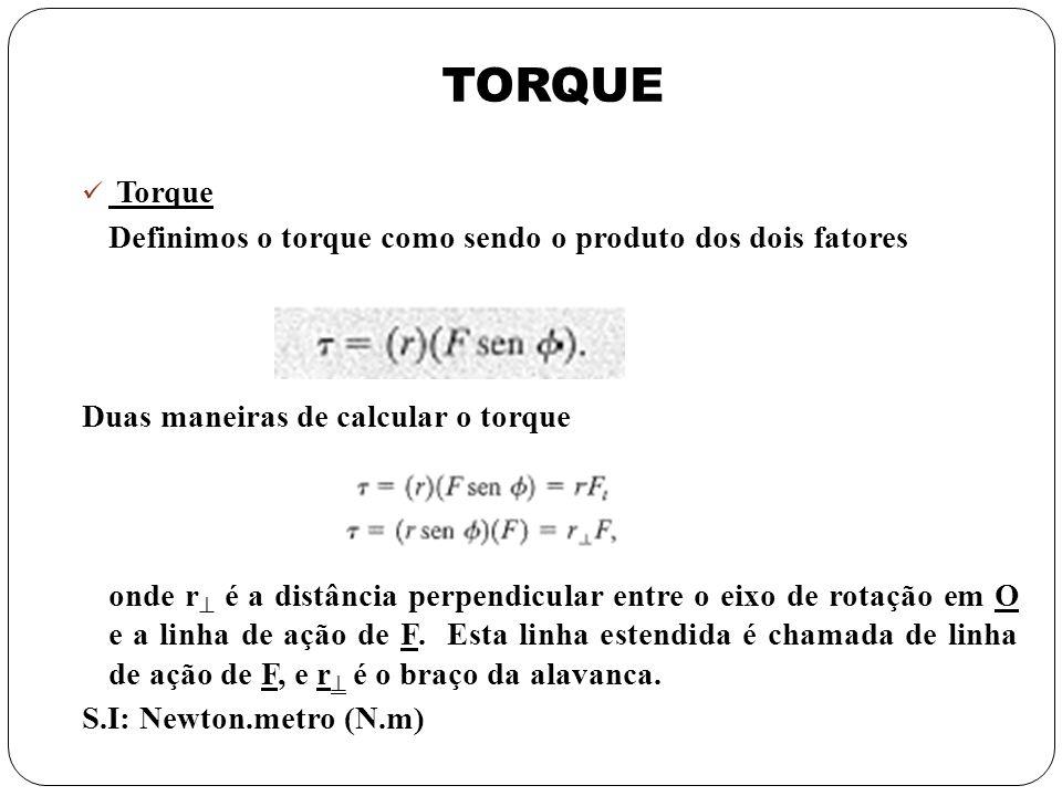 TORQUE Torque Definimos o torque como sendo o produto dos dois fatores Duas maneiras de calcular o torque onde r é a distância perpendicular entre o e