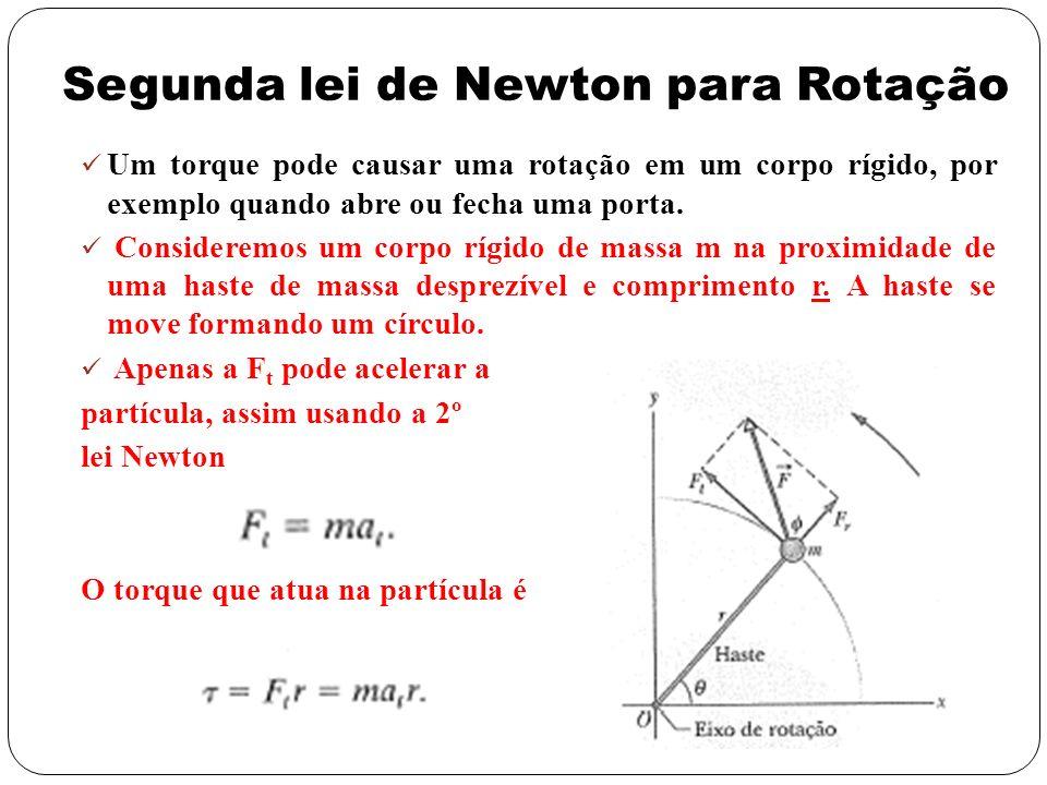 Segunda lei de Newton para Rotação Um torque pode causar uma rotação em um corpo rígido, por exemplo quando abre ou fecha uma porta. Consideremos um c