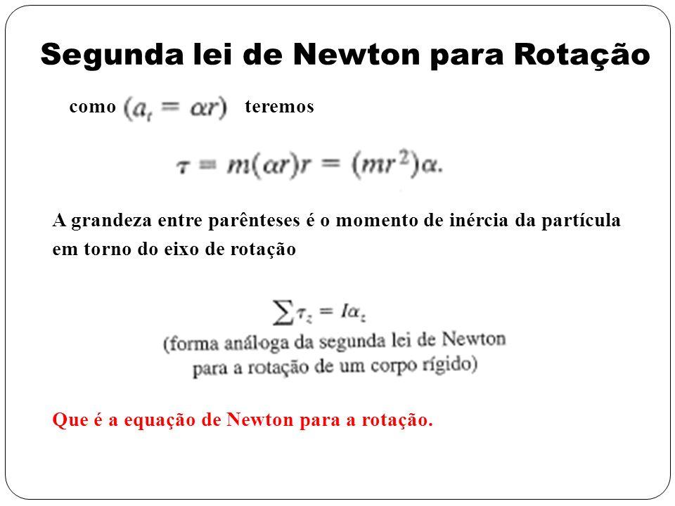 como teremos A grandeza entre parênteses é o momento de inércia da partícula em torno do eixo de rotação Que é a equação de Newton para a rotação. Seg