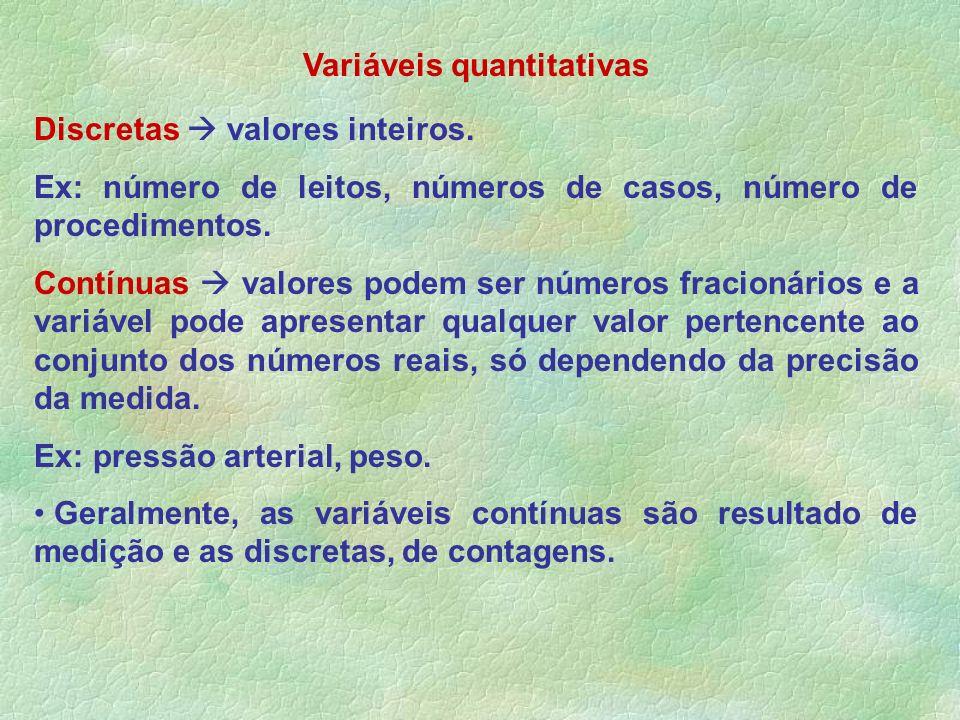 Discretas valores inteiros. Ex: número de leitos, números de casos, número de procedimentos. Contínuas valores podem ser números fracionários e a vari