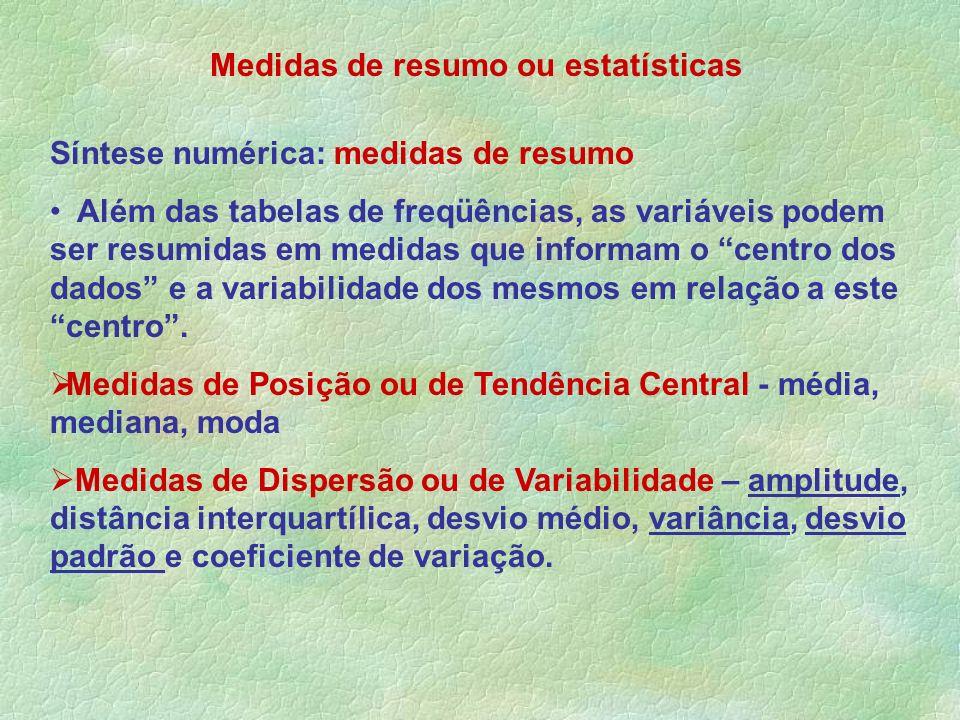 Medidas de resumo ou estatísticas Síntese numérica: medidas de resumo Além das tabelas de freqüências, as variáveis podem ser resumidas em medidas que