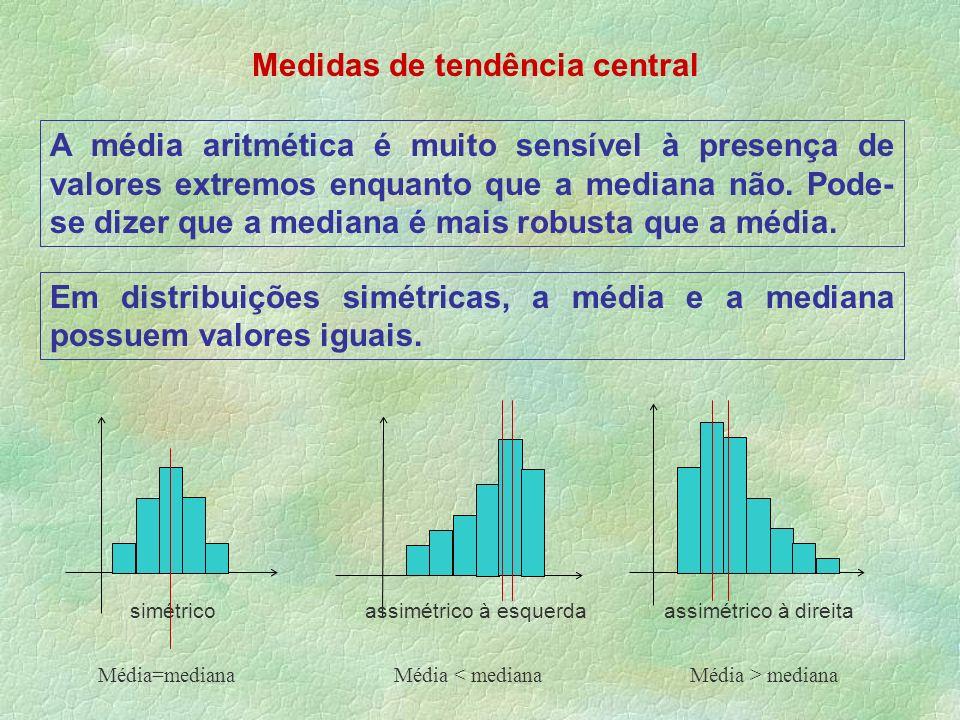 Medidas de tendência central A média aritmética é muito sensível à presença de valores extremos enquanto que a mediana não. Pode- se dizer que a media