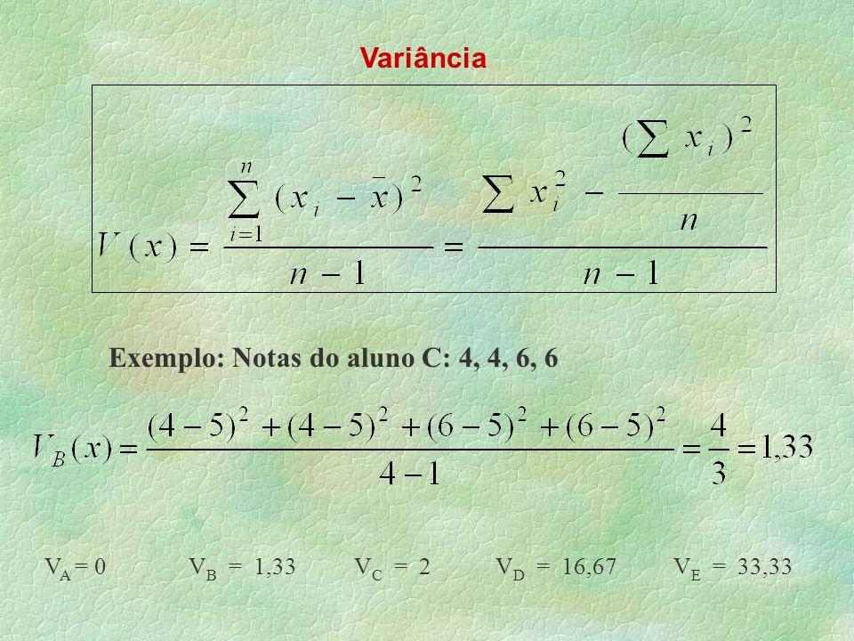 Variância Exemplo: Notas do aluno C: 4, 4, 6, 6 V A = 0 V B = 1,33 V C = 2 V D = 16,67 V E = 33,33