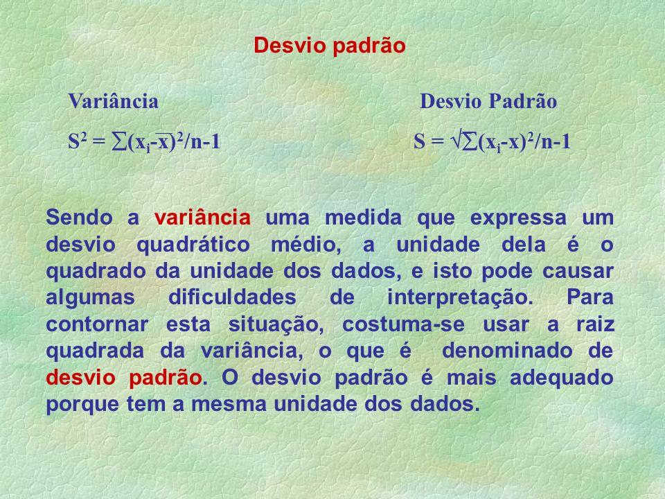 Desvio padrão Sendo a variância uma medida que expressa um desvio quadrático médio, a unidade dela é o quadrado da unidade dos dados, e isto pode caus