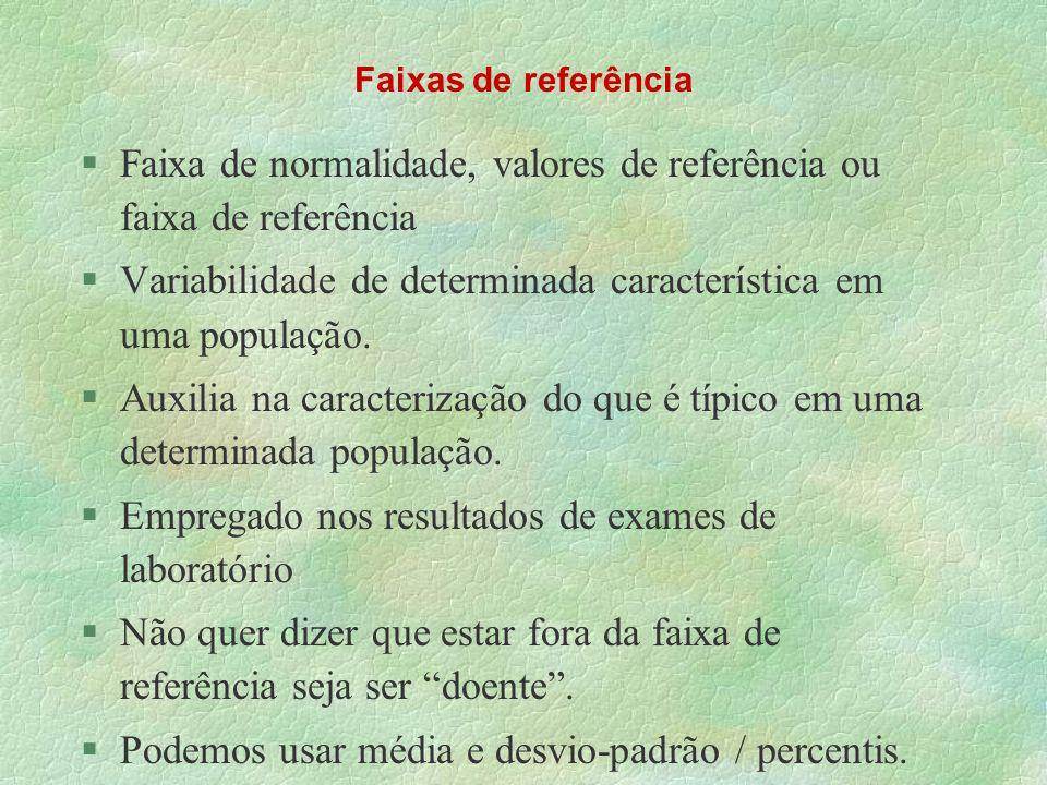 Faixas de referência §Faixa de normalidade, valores de referência ou faixa de referência §Variabilidade de determinada característica em uma população