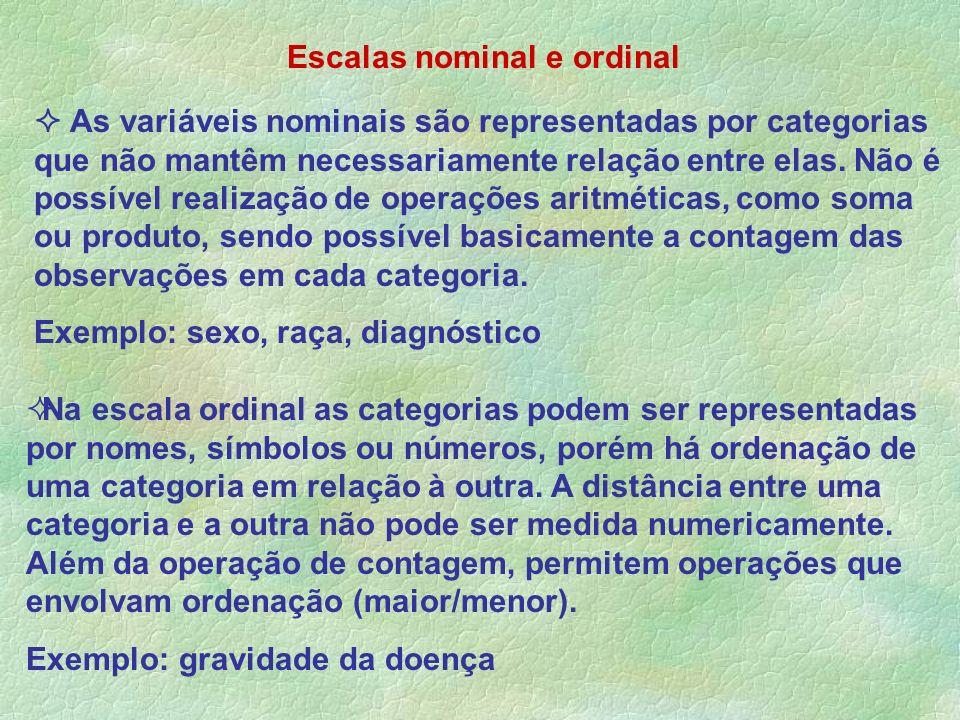 As variáveis nominais são representadas por categorias que não mantêm necessariamente relação entre elas. Não é possível realização de operações aritm