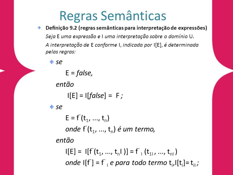 Regras Semânticas Denição 9.2 (regras semânticas para interpretação de expressões) Seja E uma expressão e I uma interpretação sobre o domínio U.