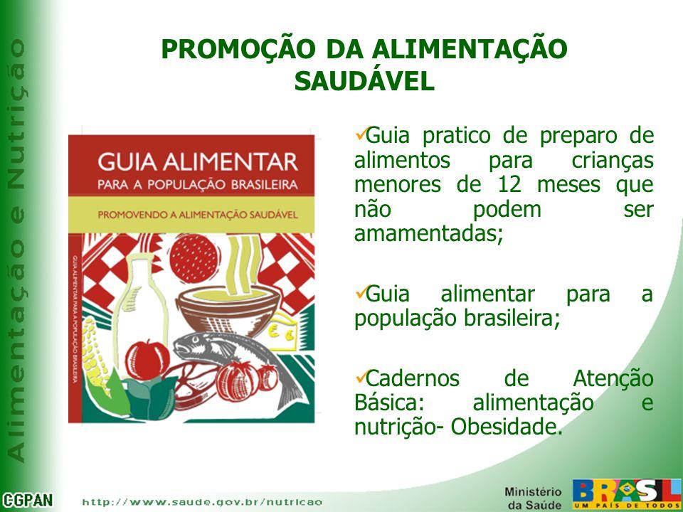 Guia pratico de preparo de alimentos para crianças menores de 12 meses que não podem ser amamentadas; Guia alimentar para a população brasileira; Cade
