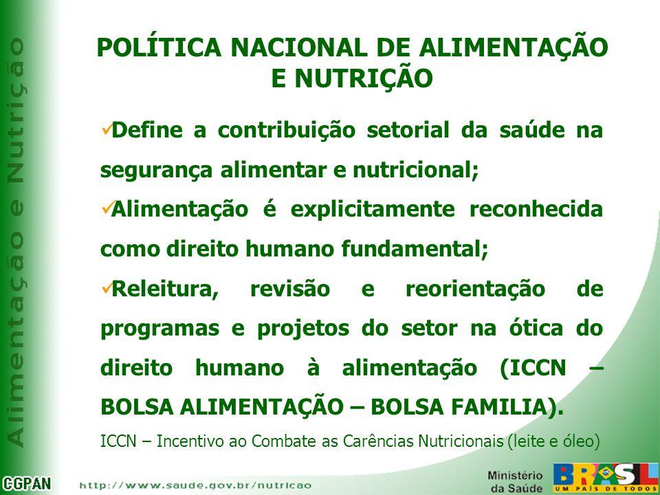 POLÍTICA NACIONAL DE ALIMENTAÇÃO E NUTRIÇÃO Define a contribuição setorial da saúde na segurança alimentar e nutricional; Alimentação é explicitamente