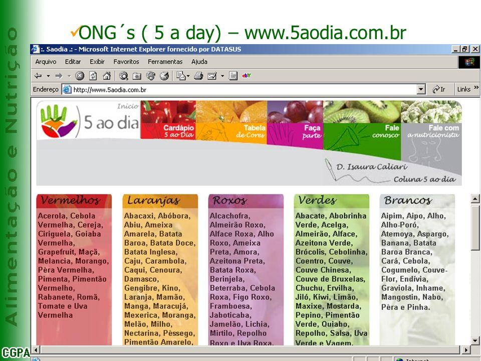 EXEMPLOS DE INICIATIVA MUNDIAL DO INCENTIVO AO CONSUMO DE F, L & V Kobe ONG´s ( 5 a day) – www.5aodia.com.br