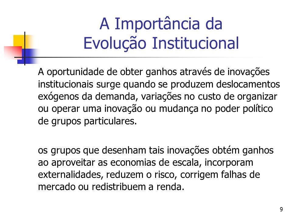 50 O investimento e as instituições [Jones (2000, cap.7)] Um projeto de investimento pode ser avaliado através da análise de custo-benefício.