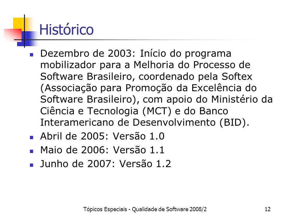 Tópicos Especiais - Qualidade de Software 2008/212 Histórico Dezembro de 2003: Início do programa mobilizador para a Melhoria do Processo de Software