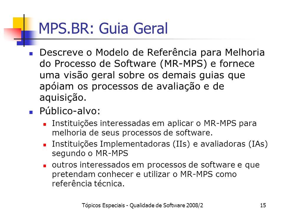 Tópicos Especiais - Qualidade de Software 2008/215 MPS.BR: Guia Geral Descreve o Modelo de Referência para Melhoria do Processo de Software (MR-MPS) e