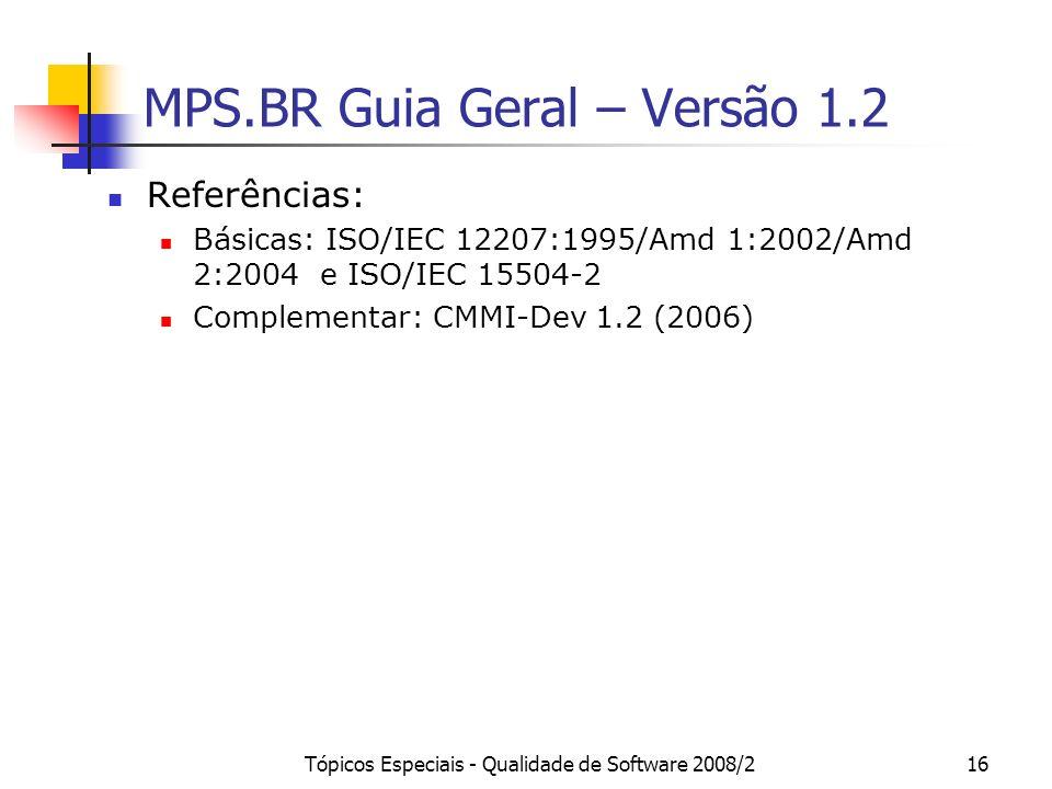 Tópicos Especiais - Qualidade de Software 2008/216 MPS.BR Guia Geral – Versão 1.2 Referências: Básicas: ISO/IEC 12207:1995/Amd 1:2002/Amd 2:2004 e ISO