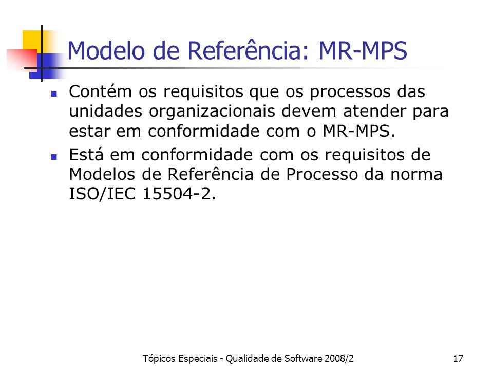 Tópicos Especiais - Qualidade de Software 2008/217 Modelo de Referência: MR-MPS Contém os requisitos que os processos das unidades organizacionais dev