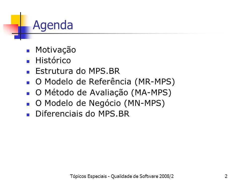 Tópicos Especiais - Qualidade de Software 2008/22 Agenda Motivação Histórico Estrutura do MPS.BR O Modelo de Referência (MR-MPS) O Método de Avaliação