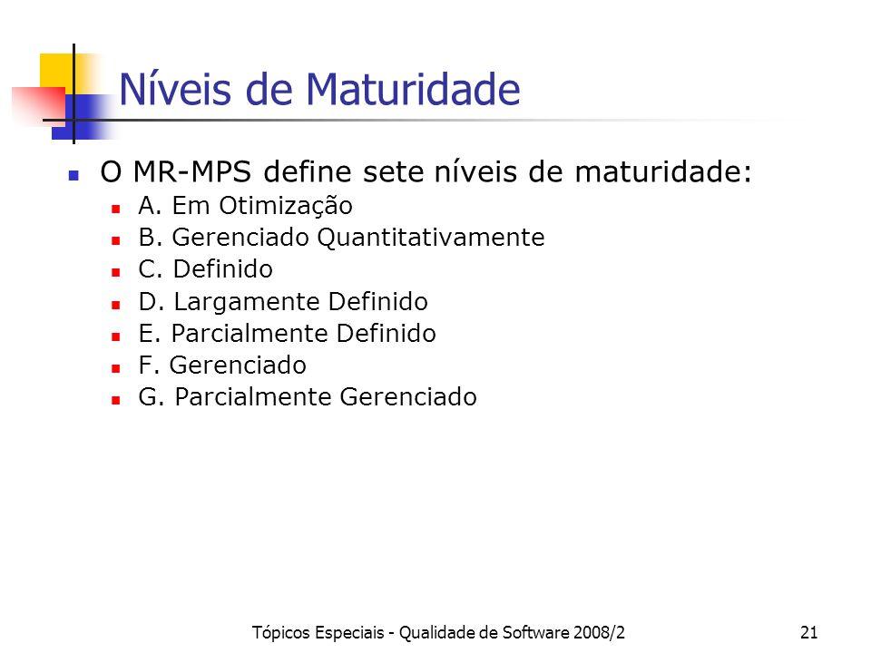 Tópicos Especiais - Qualidade de Software 2008/221 Níveis de Maturidade O MR-MPS define sete níveis de maturidade: A. Em Otimização B. Gerenciado Quan