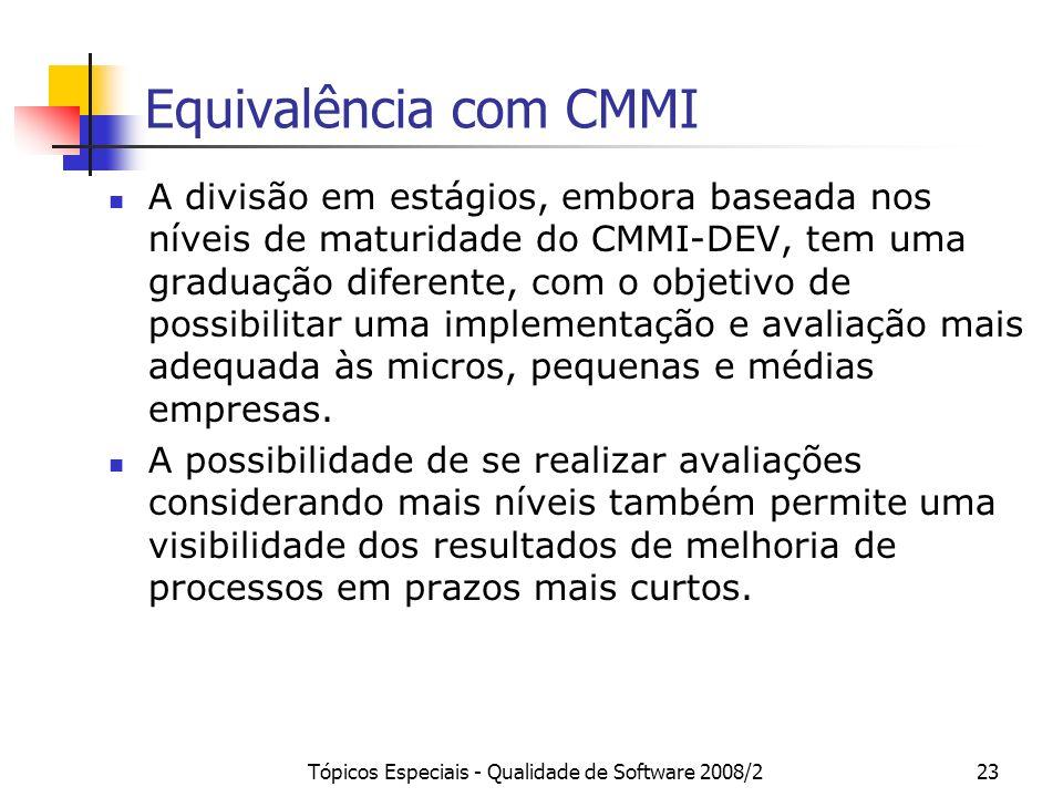 Tópicos Especiais - Qualidade de Software 2008/223 Equivalência com CMMI A divisão em estágios, embora baseada nos níveis de maturidade do CMMI-DEV, t