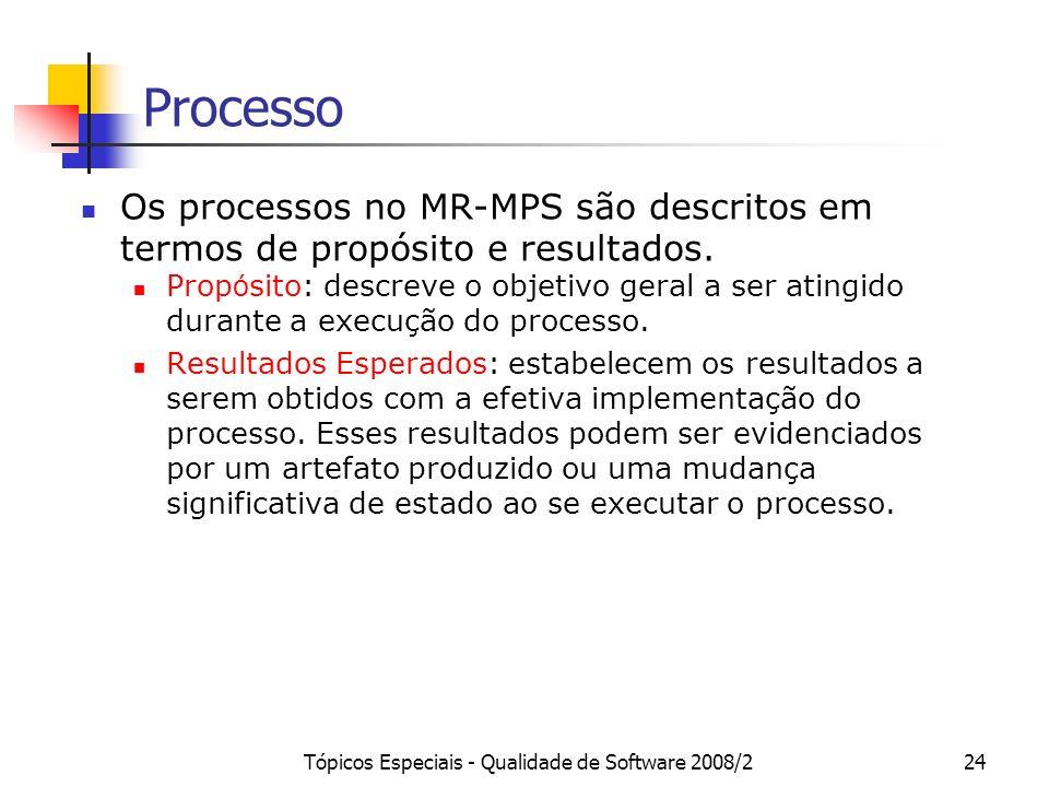 Tópicos Especiais - Qualidade de Software 2008/224 Processo Os processos no MR-MPS são descritos em termos de propósito e resultados. Prop ó sito: des