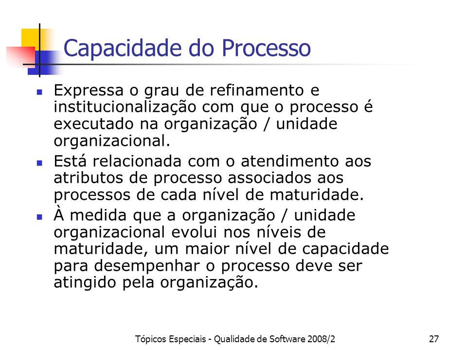 Tópicos Especiais - Qualidade de Software 2008/227 Capacidade do Processo Expressa o grau de refinamento e institucionalização com que o processo é ex