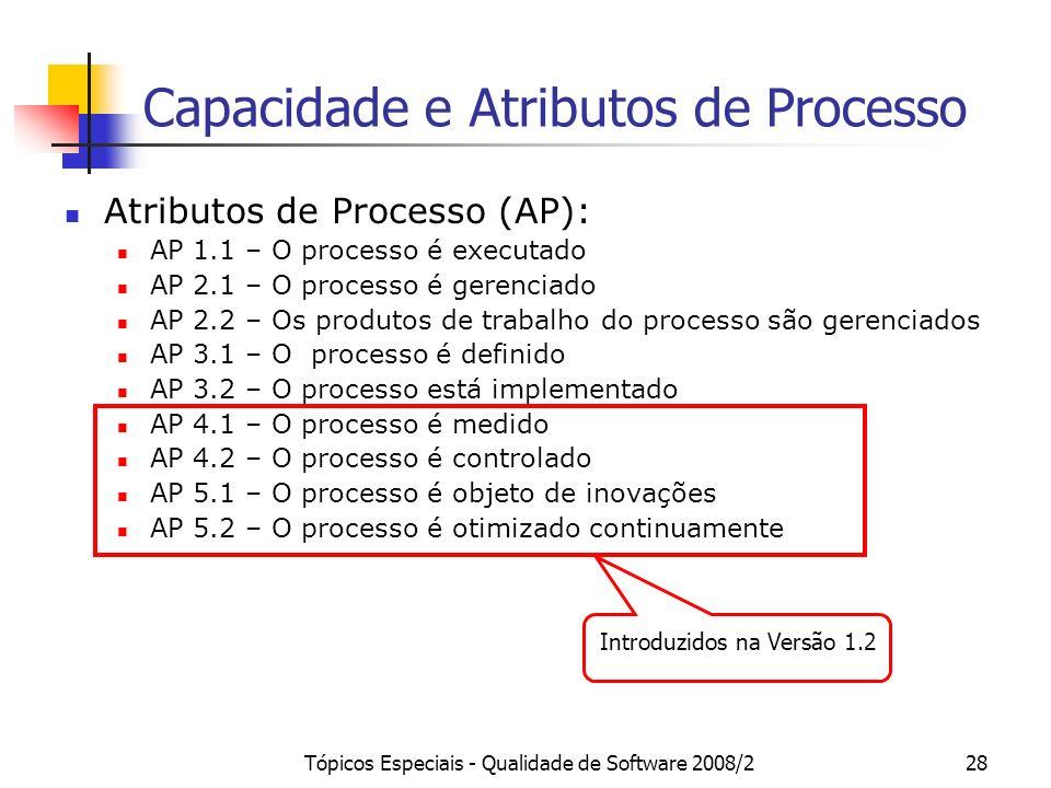 Tópicos Especiais - Qualidade de Software 2008/228 Capacidade e Atributos de Processo Atributos de Processo (AP): AP 1.1 – O processo é executado AP 2