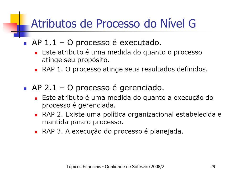 Tópicos Especiais - Qualidade de Software 2008/229 Atributos de Processo do Nível G AP 1.1 – O processo é executado. Este atributo é uma medida do qua