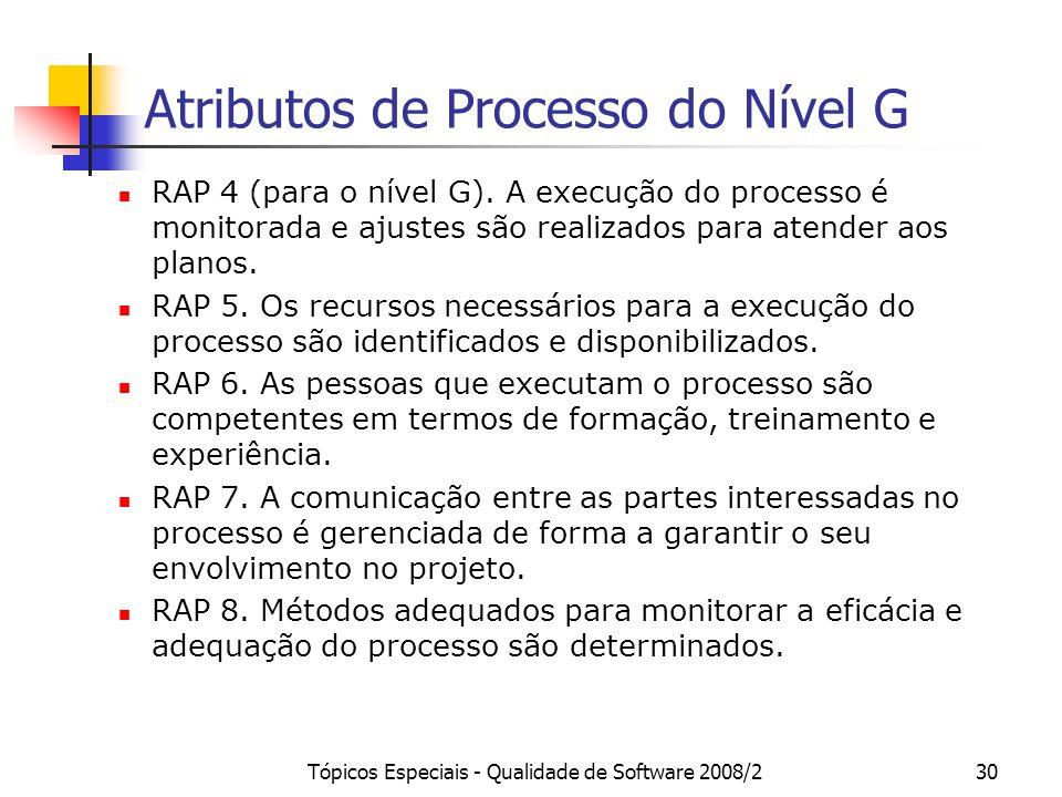 Tópicos Especiais - Qualidade de Software 2008/230 Atributos de Processo do Nível G RAP 4 (para o nível G). A execução do processo é monitorada e ajus