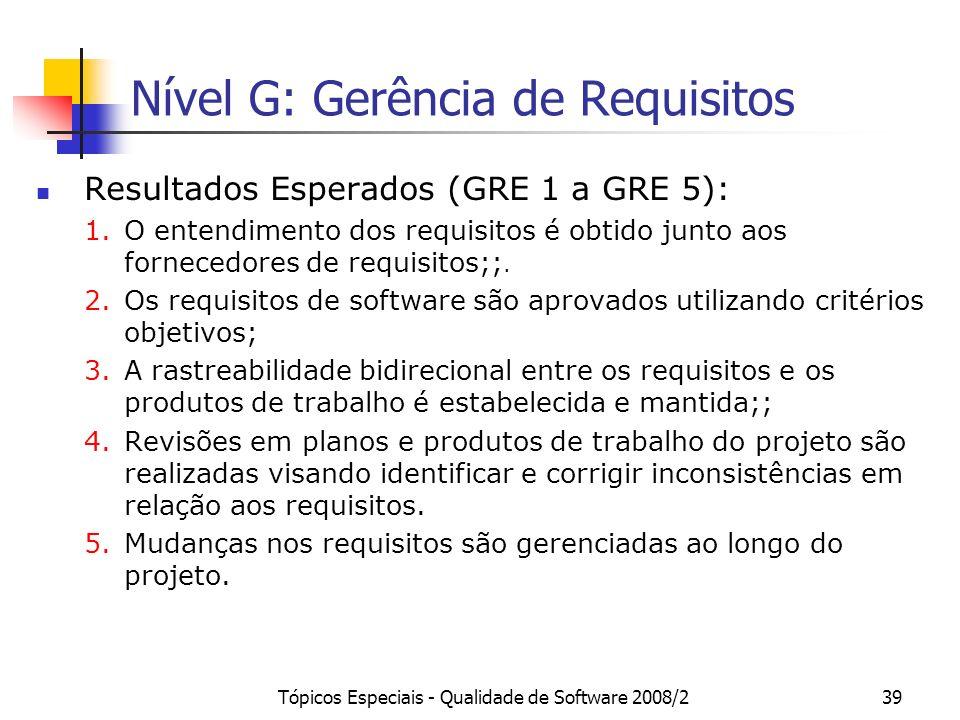 Tópicos Especiais - Qualidade de Software 2008/239 Nível G: Gerência de Requisitos Resultados Esperados (GRE 1 a GRE 5): 1.O entendimento dos requisit