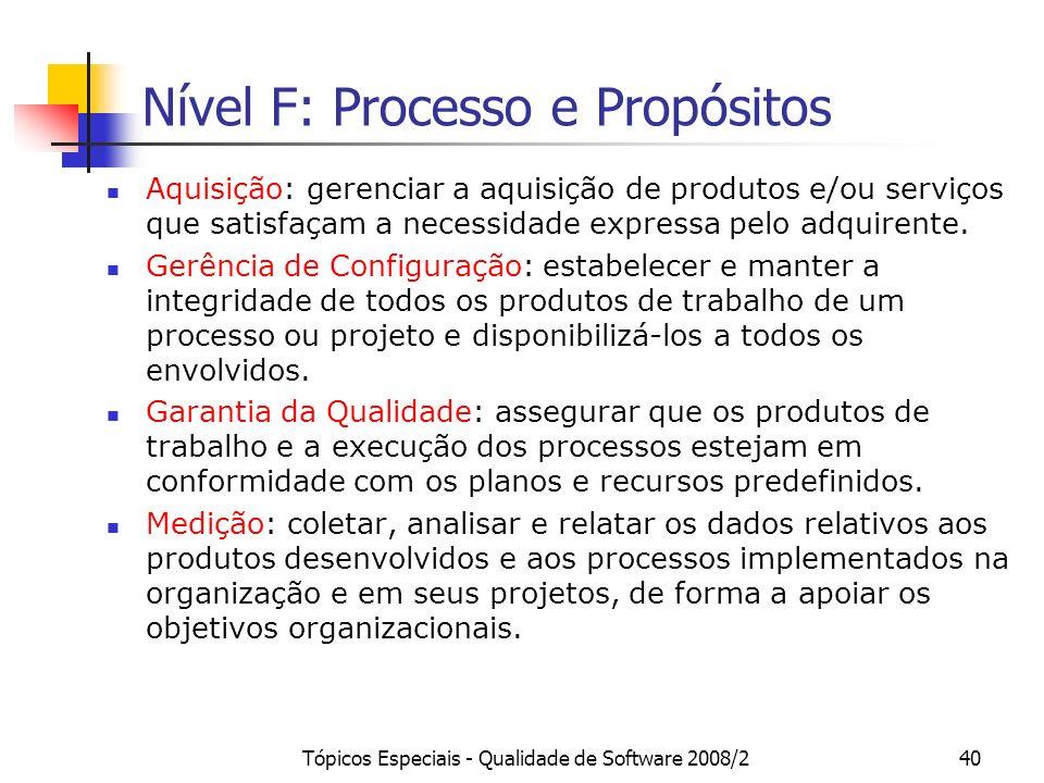 Tópicos Especiais - Qualidade de Software 2008/240 Nível F: Processo e Propósitos Aquisição: gerenciar a aquisição de produtos e/ou serviços que satis