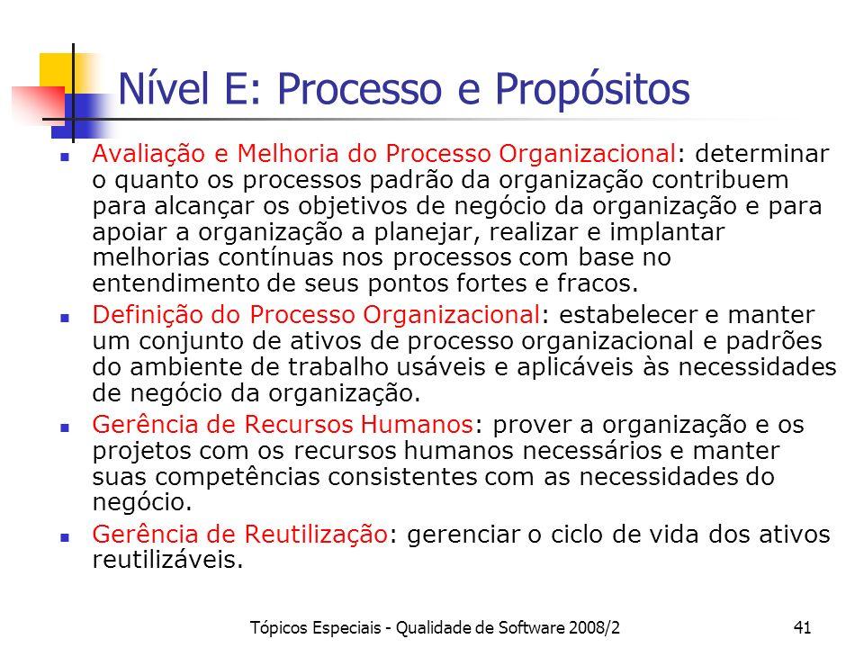 Tópicos Especiais - Qualidade de Software 2008/241 Nível E: Processo e Propósitos Avaliação e Melhoria do Processo Organizacional: determinar o quanto