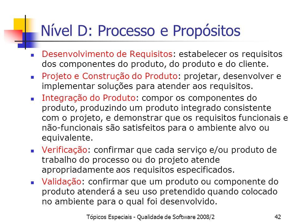 Tópicos Especiais - Qualidade de Software 2008/242 Nível D: Processo e Propósitos Desenvolvimento de Requisitos: estabelecer os requisitos dos compone