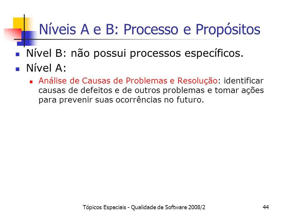 Tópicos Especiais - Qualidade de Software 2008/244 Níveis A e B: Processo e Propósitos Nível B: não possui processos específicos. Nível A: Análise de