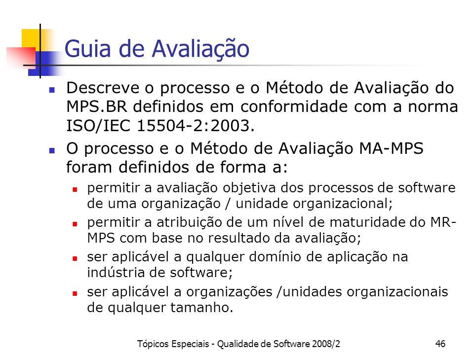 Tópicos Especiais - Qualidade de Software 2008/246 Guia de Avaliação Descreve o processo e o Método de Avaliação do MPS.BR definidos em conformidade c