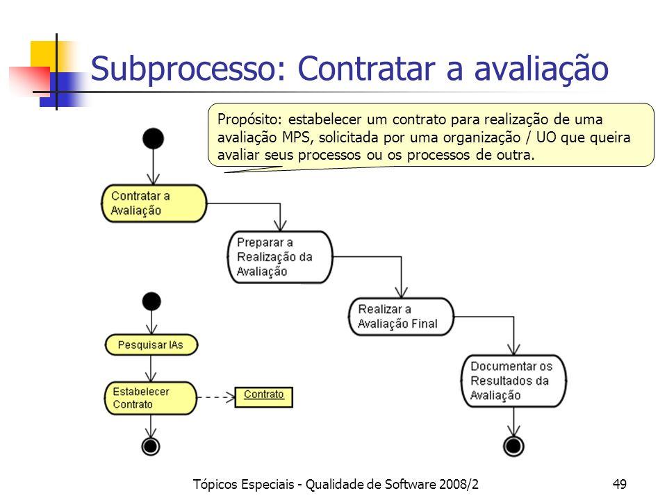 Tópicos Especiais - Qualidade de Software 2008/249 Subprocesso: Contratar a avaliação Propósito: estabelecer um contrato para realização de uma avalia