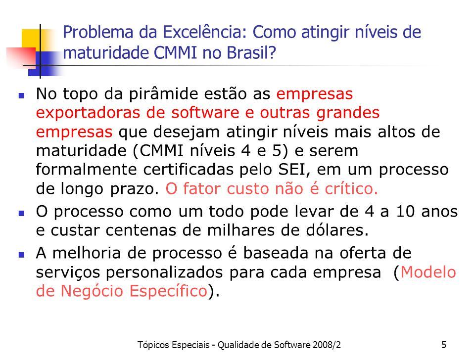Tópicos Especiais - Qualidade de Software 2008/25 Problema da Excelência: Como atingir níveis de maturidade CMMI no Brasil? No topo da pirâmide estão