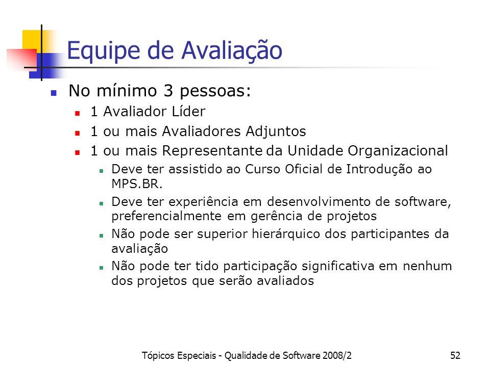 Tópicos Especiais - Qualidade de Software 2008/252 Equipe de Avaliação No mínimo 3 pessoas: 1 Avaliador Líder 1 ou mais Avaliadores Adjuntos 1 ou mais