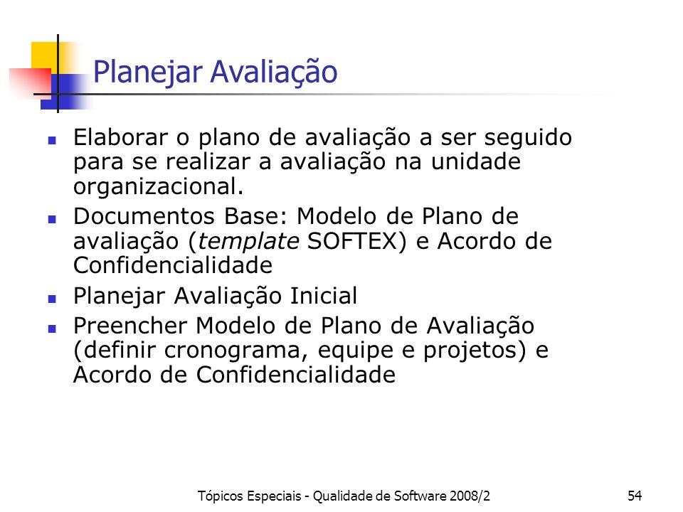 Tópicos Especiais - Qualidade de Software 2008/254 Planejar Avaliação Elaborar o plano de avaliação a ser seguido para se realizar a avaliação na unid