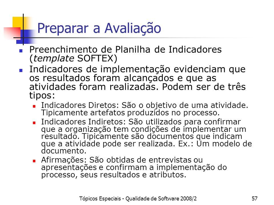 Tópicos Especiais - Qualidade de Software 2008/257 Preparar a Avaliação Preenchimento de Planilha de Indicadores (template SOFTEX) Indicadores de impl