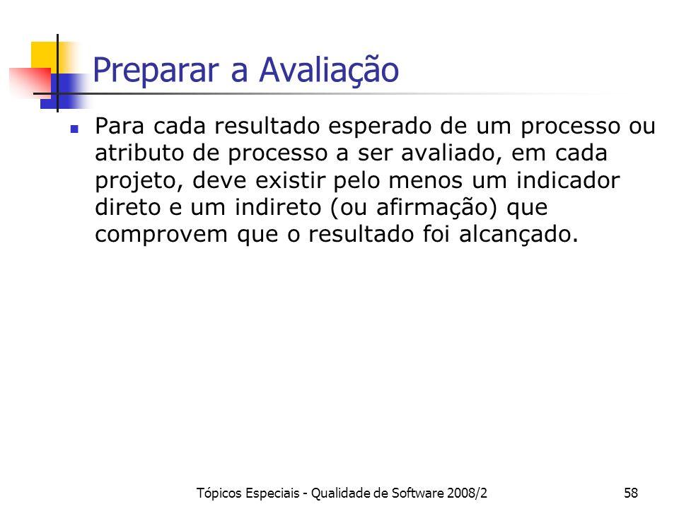 Tópicos Especiais - Qualidade de Software 2008/258 Preparar a Avaliação Para cada resultado esperado de um processo ou atributo de processo a ser aval