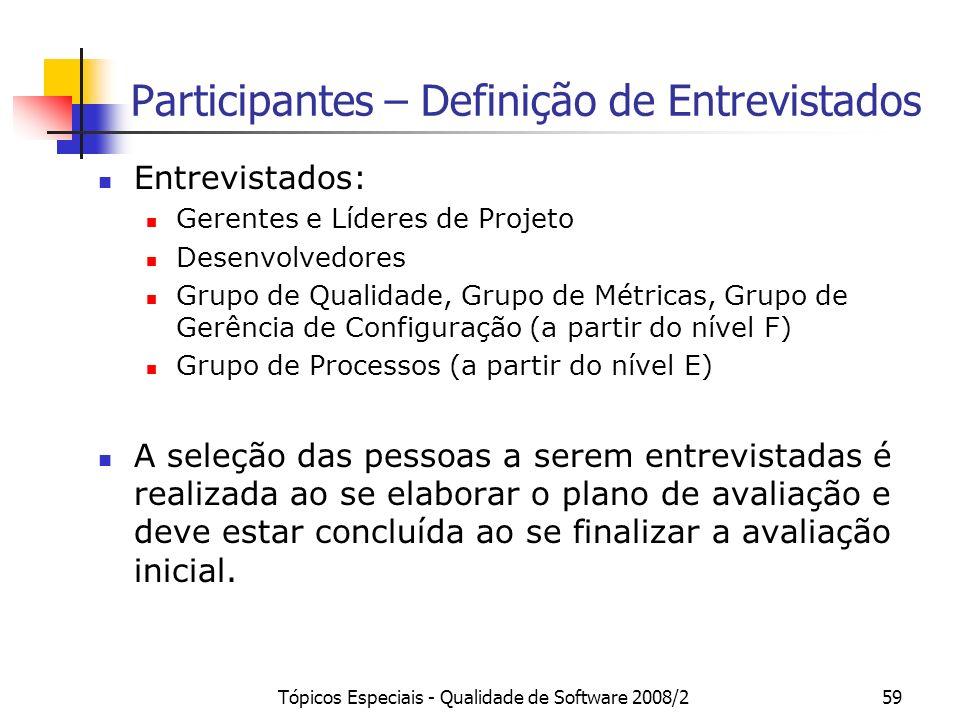 Tópicos Especiais - Qualidade de Software 2008/259 Participantes – Definição de Entrevistados Entrevistados: Gerentes e Líderes de Projeto Desenvolved
