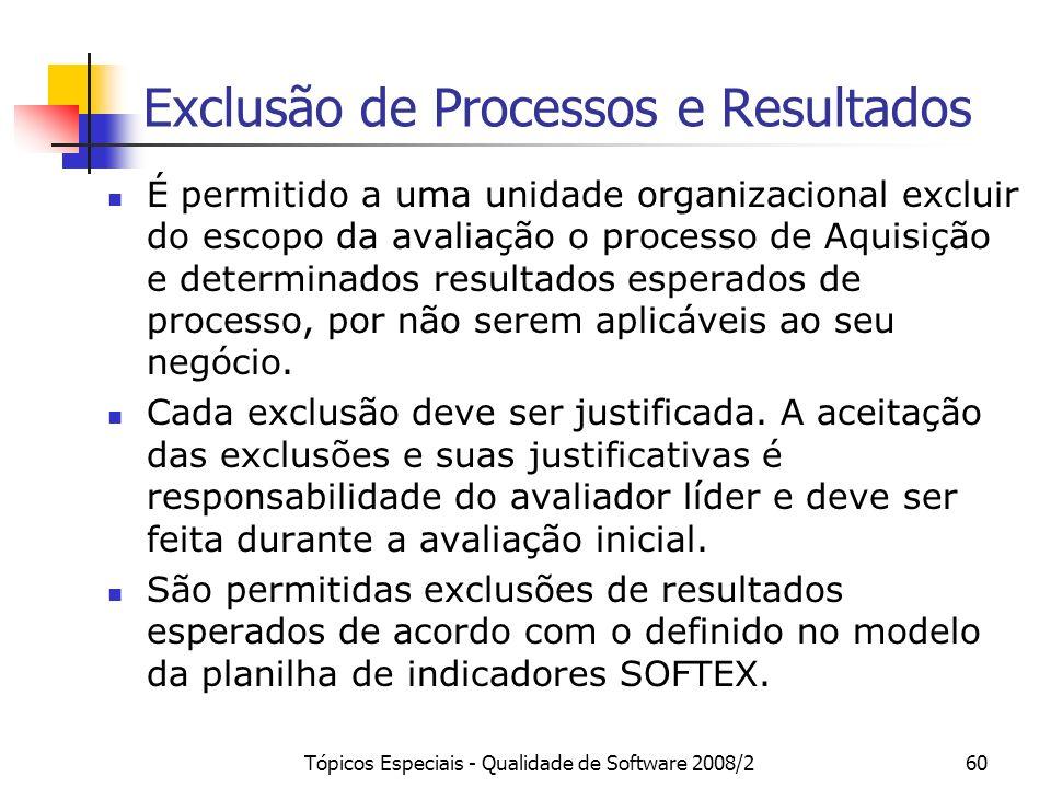Tópicos Especiais - Qualidade de Software 2008/260 Exclusão de Processos e Resultados É permitido a uma unidade organizacional excluir do escopo da av