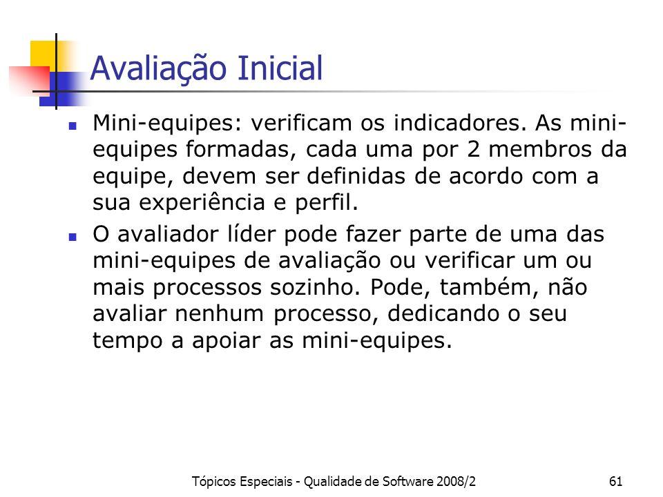 Tópicos Especiais - Qualidade de Software 2008/261 Avaliação Inicial Mini-equipes: verificam os indicadores. As mini- equipes formadas, cada uma por 2