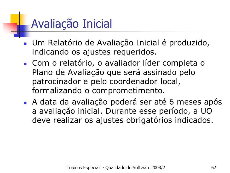 Tópicos Especiais - Qualidade de Software 2008/262 Avaliação Inicial Um Relatório de Avaliação Inicial é produzido, indicando os ajustes requeridos. C