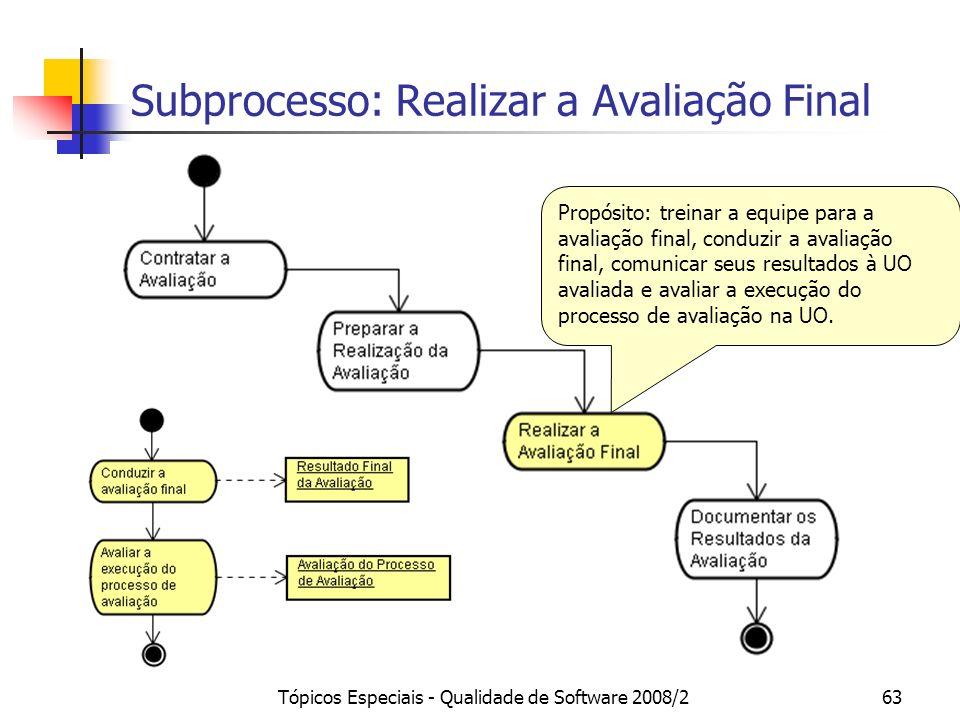 Tópicos Especiais - Qualidade de Software 2008/263 Subprocesso: Realizar a Avaliação Final Propósito: treinar a equipe para a avaliação final, conduzi