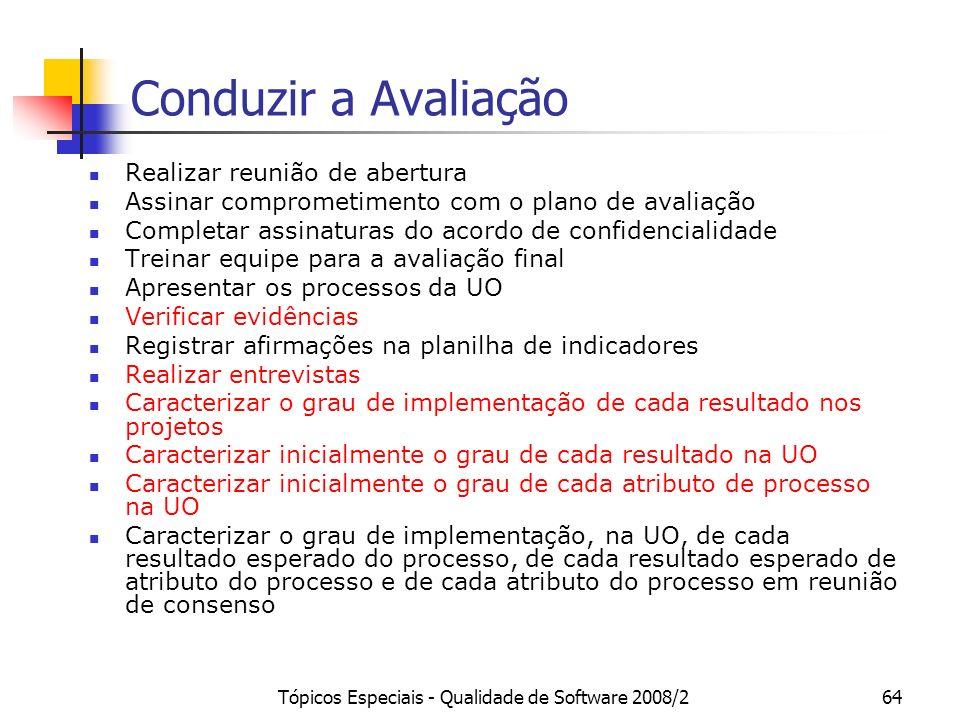 Tópicos Especiais - Qualidade de Software 2008/264 Conduzir a Avaliação Realizar reunião de abertura Assinar comprometimento com o plano de avaliação