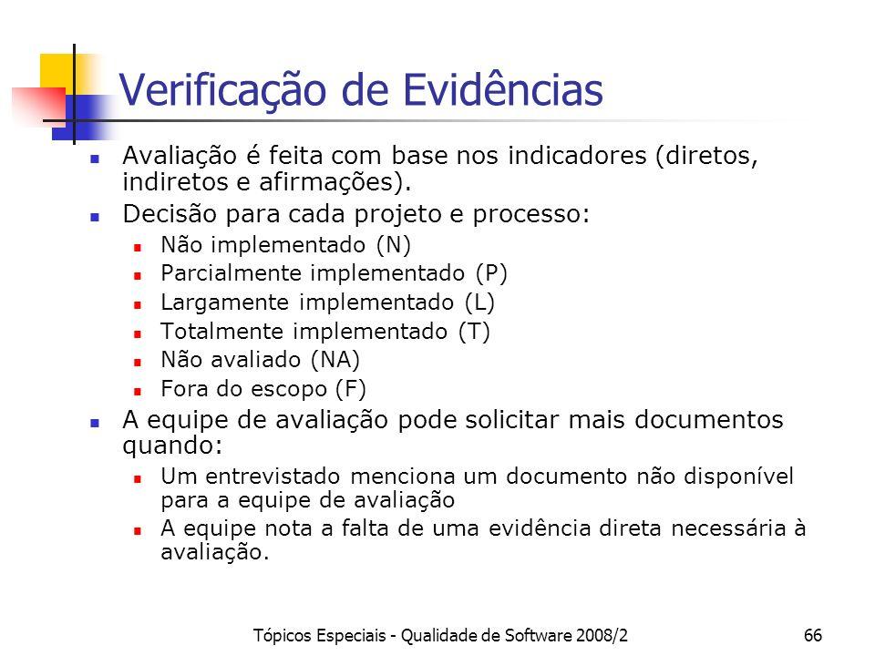 Tópicos Especiais - Qualidade de Software 2008/266 Verificação de Evidências Avaliação é feita com base nos indicadores (diretos, indiretos e afirmaçõ