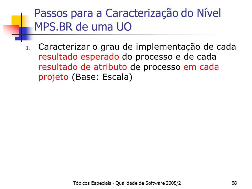 Tópicos Especiais - Qualidade de Software 2008/268 Passos para a Caracterização do Nível MPS.BR de uma UO 1. Caracterizar o grau de implementação de c