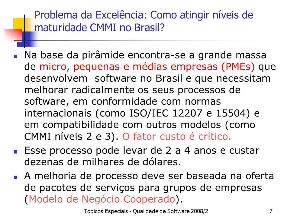 Tópicos Especiais - Qualidade de Software 2008/27 Problema da Excelência: Como atingir níveis de maturidade CMMI no Brasil? Na base da pirâmide encont