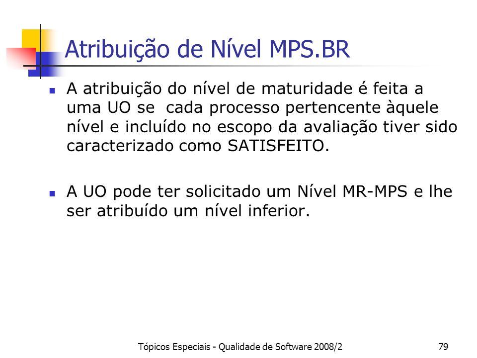Tópicos Especiais - Qualidade de Software 2008/279 Atribuição de Nível MPS.BR A atribuição do nível de maturidade é feita a uma UO se cada processo pe